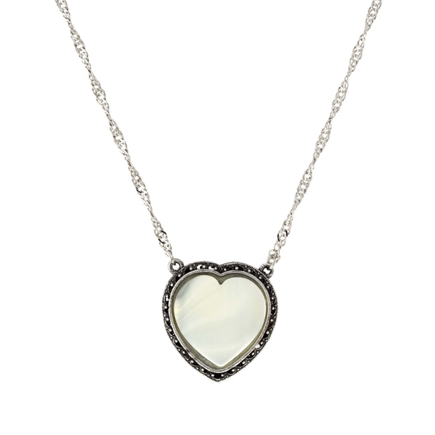Silver Tone Semi Precious Heart Necklace