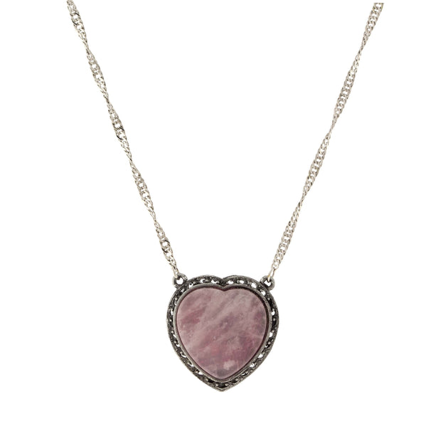 Silver Tone Semi Precious Heart Necklace Rose Quartz