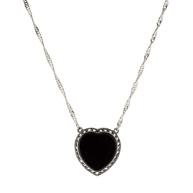Silver Tone Semi Precious Heart Necklace Black Onyx