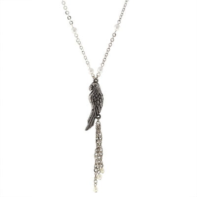 Pewter Parrot With Silver Tone Costume Pearl Chain And Tassel Necklace 16   19 Inch Adjustable
