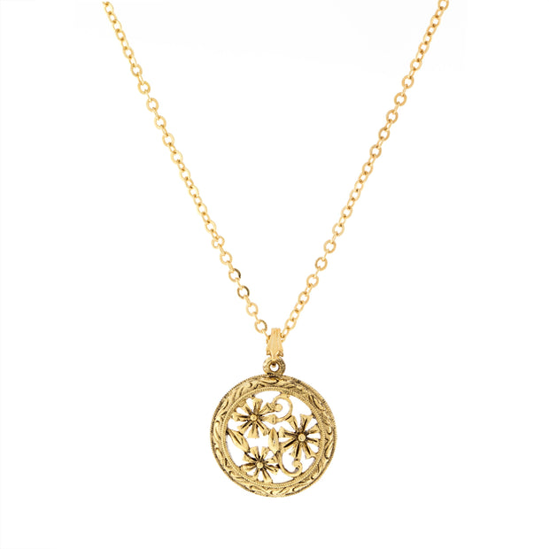 Round Floral Pendant Necklace 16   19 Inch Adjustable