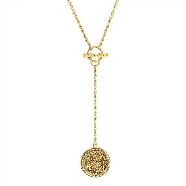 Round Floral Locket With Toggle Chain Necklace 20 In