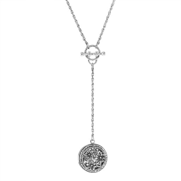 Round Floral Locket with Toggle Chain Necklace