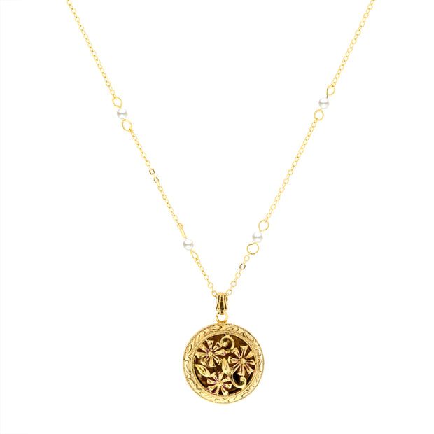 Round Floral Locket with Pearl Chain Necklace 18