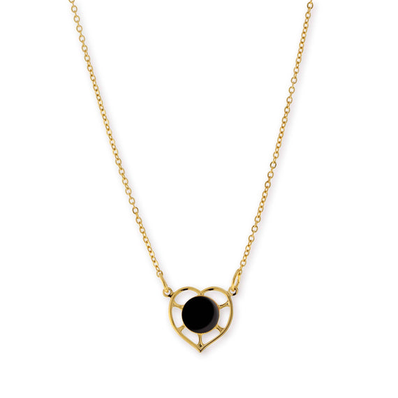 14K Gold Dipped Circle Black Enamel With Heart Necklace 16