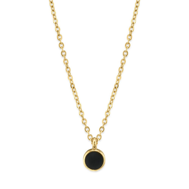 1928 Jewelry 14K Gold Dipped Dainty Round Enamel Pendant Necklace 16 Inches (Small)
