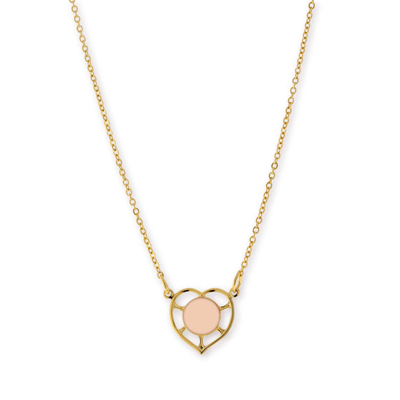 14K Gold Dipped Minimalist Circle Peach Enamel With Heart Necklace