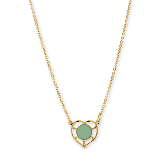14K Gold Dipped Circle Green Enamel With Heart Necklace