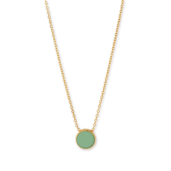 14K Gold Dipped Minimalist Large Round Green Enamel Necklace