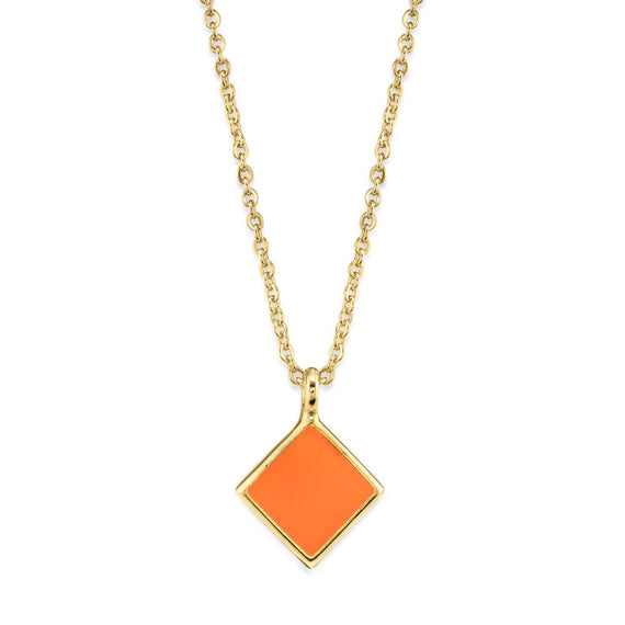 14K Gold Dipped Minimalist Diamond Shape Orange Enamel Necklace