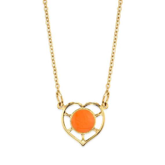 14K Gold Dipped Circle Orange Enamel With Heart Necklace