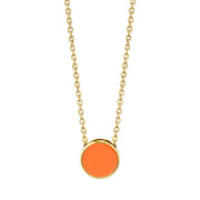 14K Gold Dipped Medium Round Enamel Necklace 16