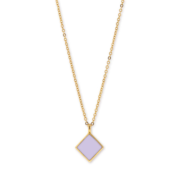 14K Gold Dipped Minimalist Diamond Shape Purple Enamel Necklace