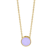 14K Gold Dipped Dainty Round Enamel Pendant Necklace 16 Inch (Large)