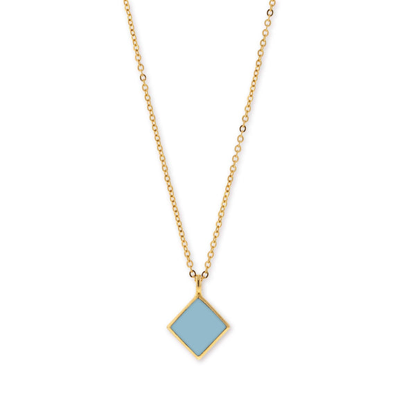 14K Gold Dipped Minimalist Diamond Shape Blue Enamel Necklace