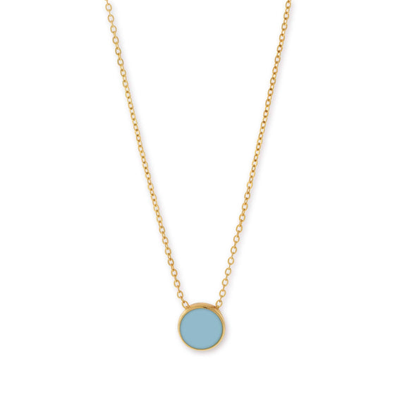 14K Gold Dipped Minimalist Large Round Blue Enamel Necklace