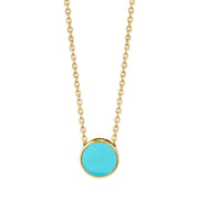 14K Gold Dipped Medium Round Enamel Necklace 16 Light Green