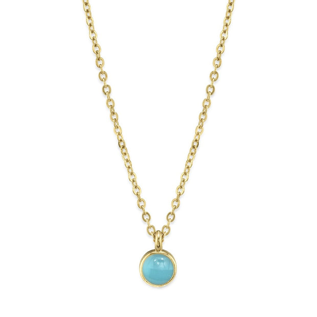14K Gold Dipped Dainty Round Enamel Pendant Necklace 16 Inch (Small)