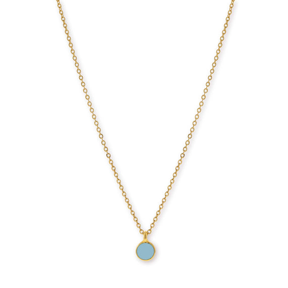 14K Gold Dipped Small Round Light Blue Enamel Necklace 16