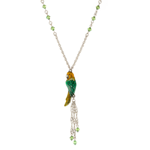 Silver Tone Enamel Green Yellow Parrot with Crystal Beads Necklace