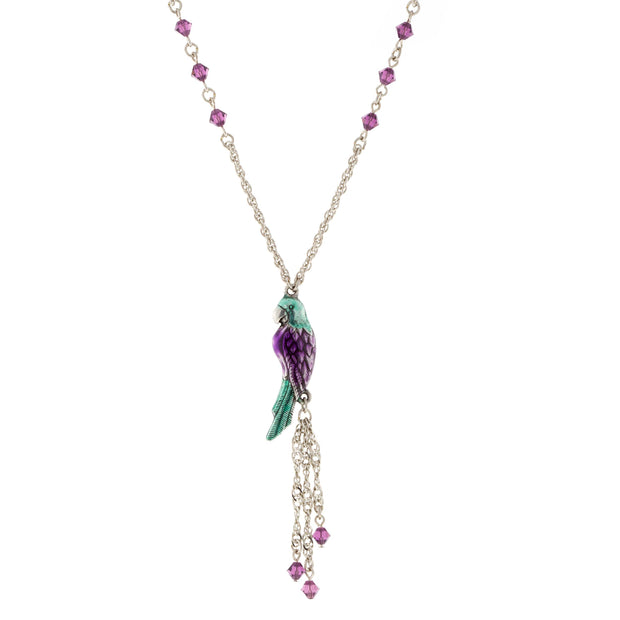 Silver Tone Enamel Purple Green Parrot with Crystal Beads Necklace