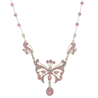 Silver with Pink Swarovski Crystal Butterfly Necklace 15 In Adj in black box