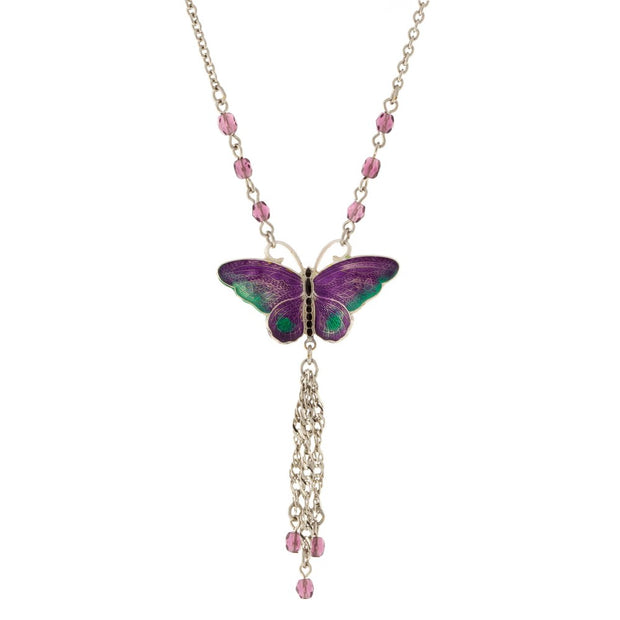 Silver Tone Purple Green Crystal Bead Enamel Butterfly Pendant With Tassel Drop Necklace