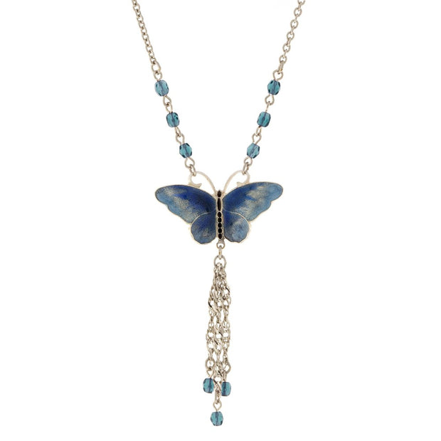 Silver Tone Enamel Butterfly With Crystal Beads Blue