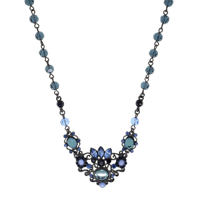 Black-Tone Blue and Light Sapphire Blue Color Necklace 16 In Adj