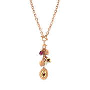 Rose Gold Tone Purple Crystal Heart And Locket Charm Toggle Necklace 20 In