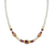 Rose Gold-Tone Costume Pearl Purple Crystal Flower Beaded Necklace 15 In Adj
