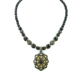 Fashion Jewelry - Antiquities Couture Desert Sun Black Beaded Pendant Necklace