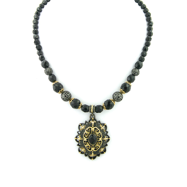 Black-Tone and Gold-Tone Black Beaded Filigree Pendant 16 In Adj