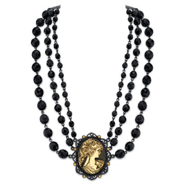 Fashion Jewelry - Antiquities Couture Couture Onyx Triple Strand Beaded Cameo Necklace