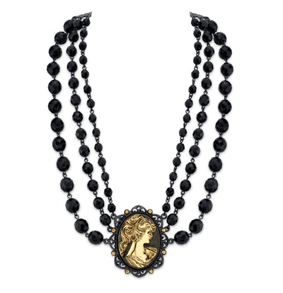 Black-Tone and Gold-Tone Triple Strand Cameo Necklace 16 In Adj