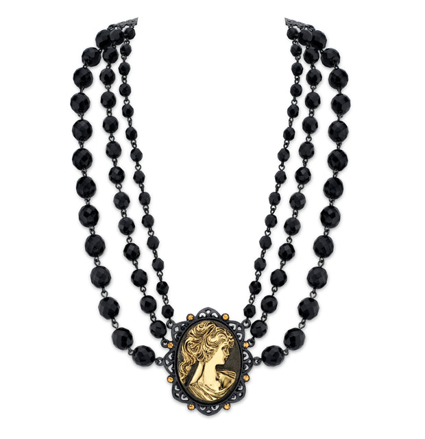 Black Tone And Gold Tone Triple Strand Cameo Necklace 16   19 Inch Adjustable