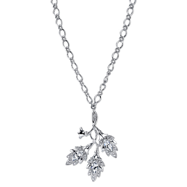 Silver-Tone Genuine Swarovski Elements Navette Leaf Pendant Necklace 16 In Adj