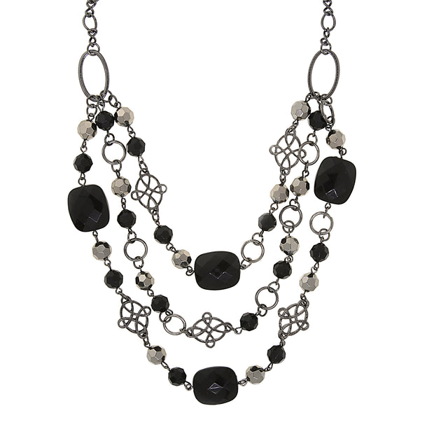 Black Tone Black Beaded Layer Necklace 18 In