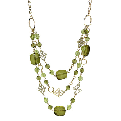 Gold Tone Green Layer Necklace 18 In