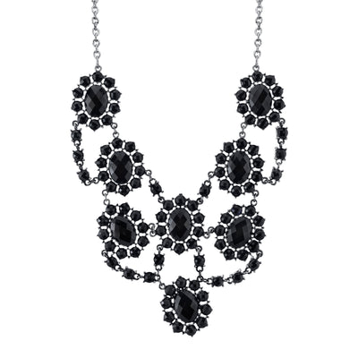 Silver-Tone Jet Black Faceted Statement Bib Necklace 16 - 19 Inch Adjustable
