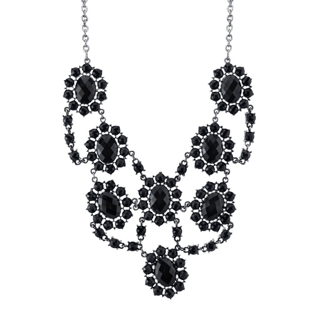 Silver-Tone Jet Black Faceted Statement Bib Necklace 16 In Adj