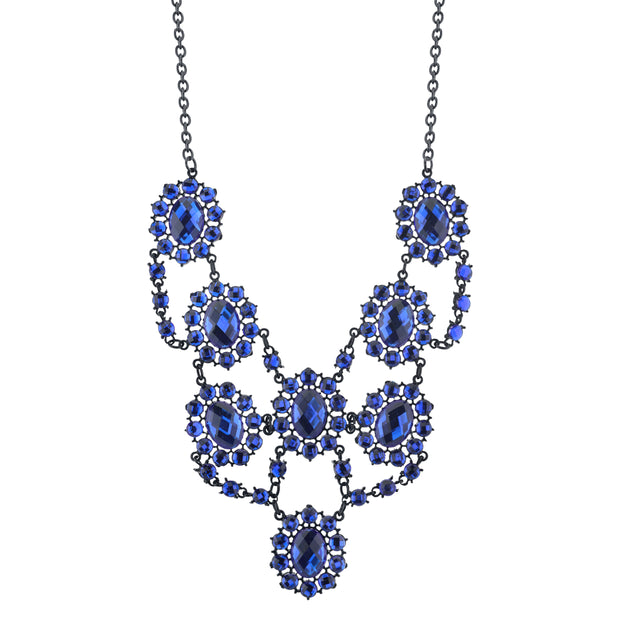 Black-Tone Sapphire Blue Faceted Statement Bib Necklace 16 In Adj