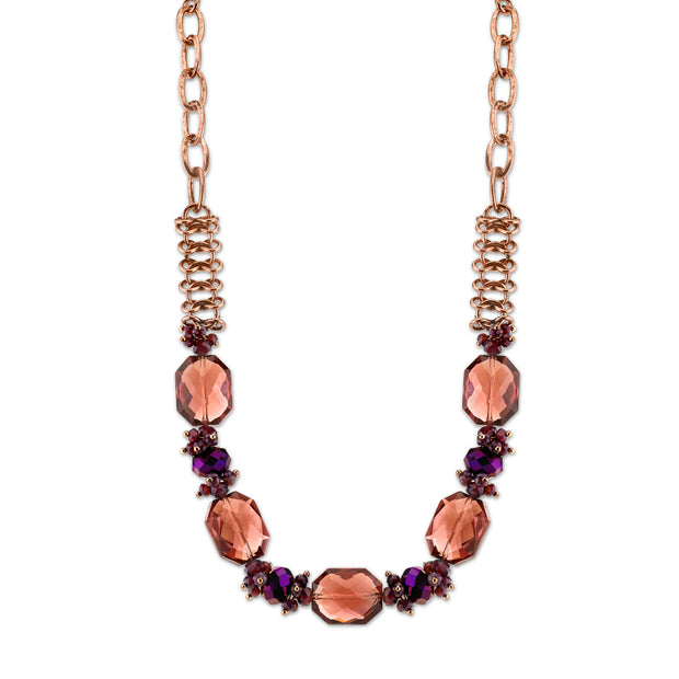 Copper-Tone Amethyst Purple Color Faceted Necklace 16 In Adj