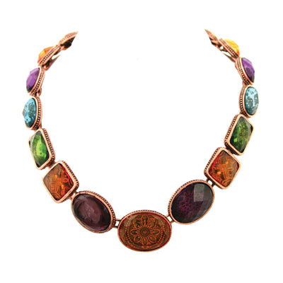 Burn.Copper / Olivine / Amy Smk.Topaz Necklace 17 Adj