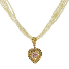 Gold-Tone Crystal Pink Porcelain Rose Simulated Pearl Heart Necklace 16  Adj.
