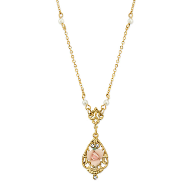 Gold Tone Crystal and Pink Porcelain Rose Costume Pearl Necklace 17 In