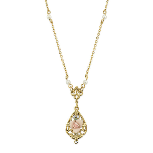 14K Gold Dipped Porcelain Rose With Crystal Accent Necklace 17 Inch Pink