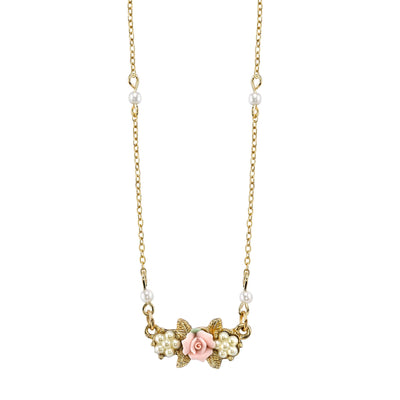 Gold Tone Costume Pearl Pink Porcelain Rose Necklace 16 In Adj