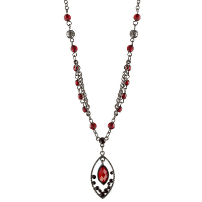 Black-Tone Red Faceted Oval Drop Necklace 16 In Adj