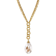 Gold-Tone Light Topaz Color Crystal Pearshape Briolette Y-Necklace 16 - 19 Inch Adjustable
